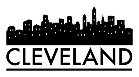Abstract skyline Cleveland, with various landmarks, illustration Ilustrace