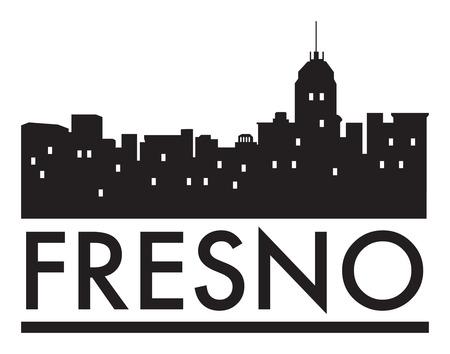 Abstract skyline Fresno, with various landmarks, illustration