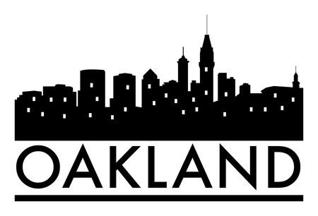 Abstract skyline Oakland, with various landmarks, illustration
