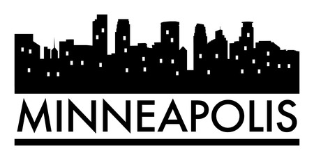 Abstract skyline Minneapolis, with various landmarks, illustration