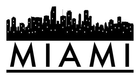 Abstract skyline Miami, with various landmarks, illustration