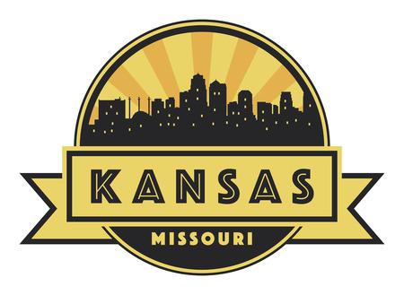 Abstract skyline Kansas, with various landmarks, illustration