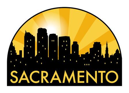 Abstract skyline Sacramento, with various landmarks, illustration