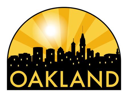 oakland: Abstract skyline Oakland, with various landmarks, illustration