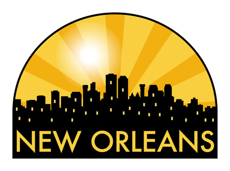 new orleans: Abstract skyline New Orleans, with various landmarks, illustration Illustration