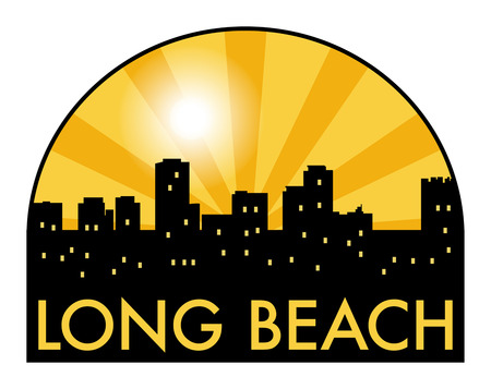 Abstract skyline Long Beach, with various landmarks, illustration