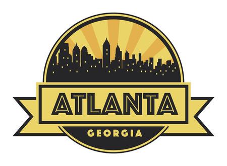 Abstract skyline Atlanta, with various landmarks, illustration