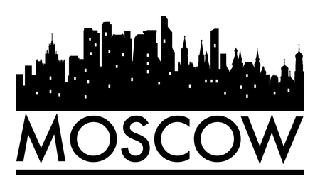 Abstract skyline Moscow, with various landmarks, illustration