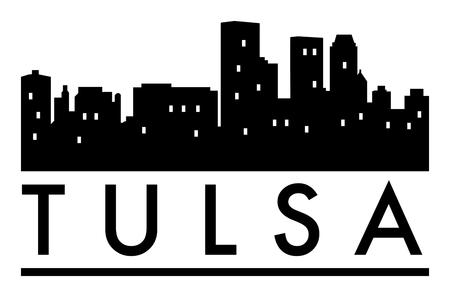 Abstract skyline Tulsa, with various landmarks, illustration