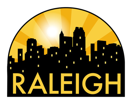 Abstract skyline Raleigh, with various landmarks, illustration