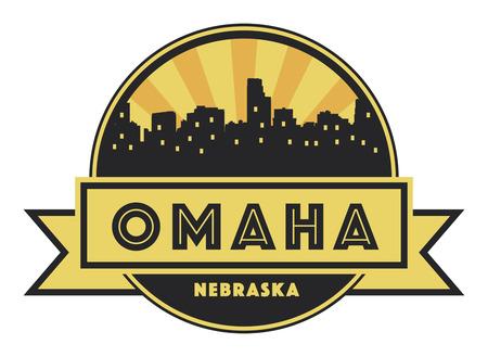 omaha: Abstract skyline Omaha, with various landmarks, illustration Illustration