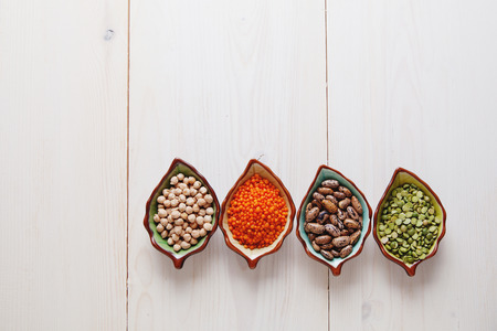 eyeing: Healthy pulses products chick-pea, lentil, beans and peas