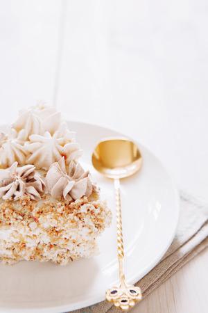 tort: Meringue and walnut cake with chocolate cream minimalistic style Stock Photo