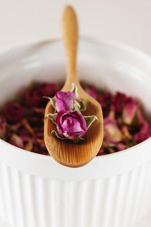potpourri: Dried rose petals: for tea, alternative medicine, pot-pourri, selective focus Stock Photo