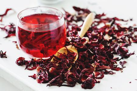 Hibiscus tea closeup selective focus Stock Photo