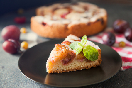 Homemade summer plum cake garnished with gooseberry and mint on dark background