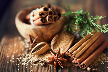 Traditional Christmas spices, food background, close up