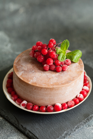Chocolate mousse cake with lingonberry fruits and mint copy space