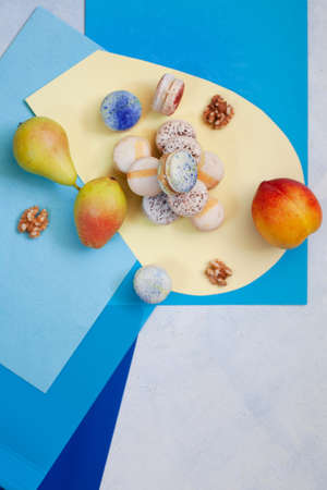 Top view of assorted macarons copy space, party concept Stockfoto