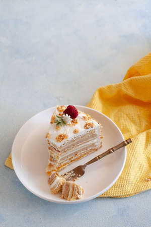 Tradional Russian cake Medovik, honey layered cake with hazelnuts decorated with fresh raspberry copy space Stockfoto