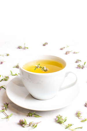 A Cup of tea with thyme flowers on a white background. The view from the top. Concept of folk medicine. Herbal drink. Reklamní fotografie - 150610369