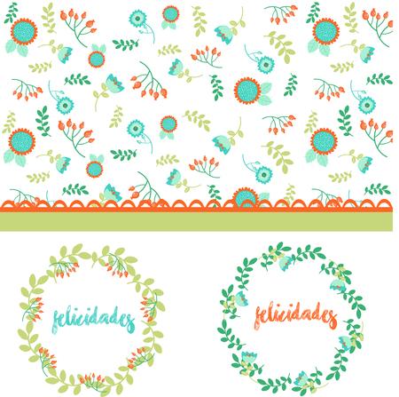 hojas: Illustration flowers congrats
