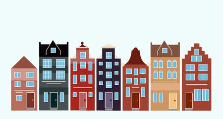 Illustrazione vettoriale di varie case olandesi. Amsterdam case colorate strada. Archivio Fotografico - 90080138