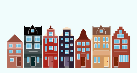 Vector illustration of various Dutch houses. Amsterdam colorful houses street. Çizim
