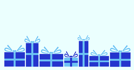 Vector illustration of various presents for Christmas. Gifts wrapped in blue paper.