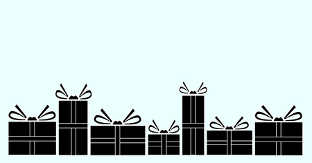 Vector illustration of various presents for Christmas. Gift silhouette