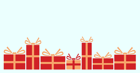 Vector illustration of various presents for Christmas. Gifts wrapped in red paper. Illusztráció