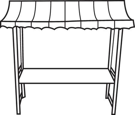 Vector outline illustration of an isolated empty market stand. Illustration