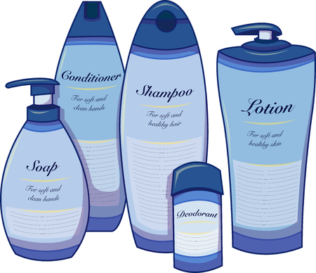 Vector illustration of five blue care products. Soap, lotion, shampoo, deodorant toiletries.