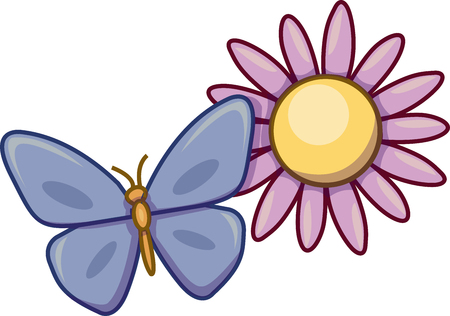 Vector illustration of a blue butterfly on a pink flower.