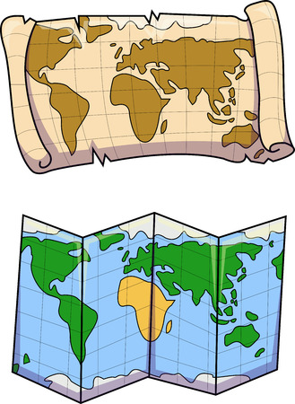 Vector illustration of old and new world map. Colorful treasure hunt and fold up types or maps.