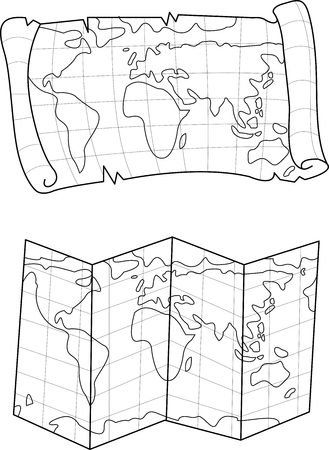Vector Illustration Of Old And New World Map Lines Of A Treasure