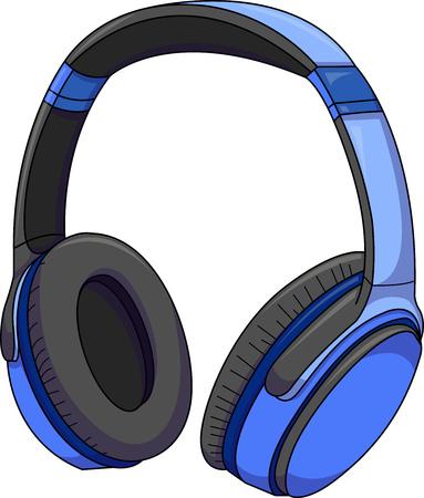 Blue modern headphones vector illustration.