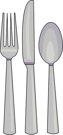 Vector illustration of three common utensils: Spoon, fork and knife