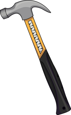 Vector illustration of a yellow hammer. A device that delivers a blow.