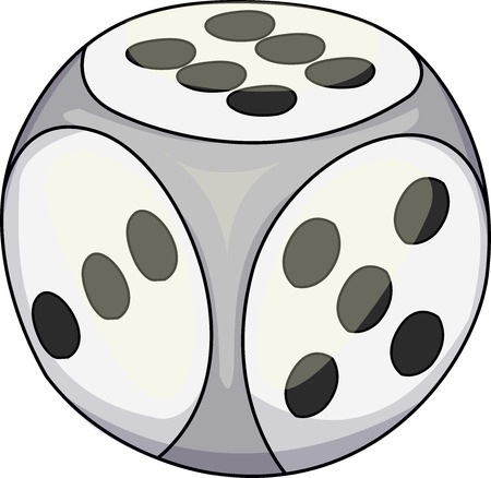 Vector illustration of a white dice used for certain games. Illustration
