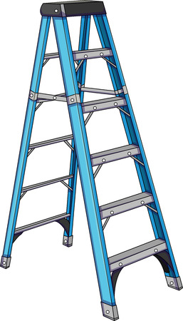 Vector illustration of a blue ladder.