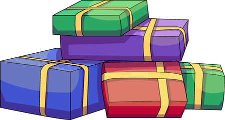 Vector illustration of various presents for Christmas or birthday. Gifts wrapped in different colors paper.