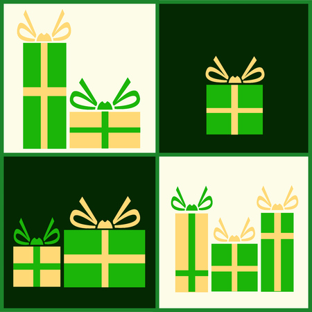 Vector illustration of various presents for Christmas. Gifts wrapped in green paper card. Illusztráció
