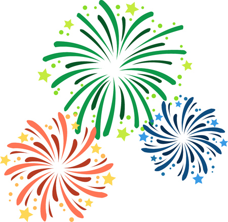 Vector illustration of fireworks on New Years Eve.