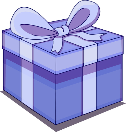 Vector illustration of a birthday or Christmas present. Gift wrapped in blue paper with blue ribbon. Illusztráció