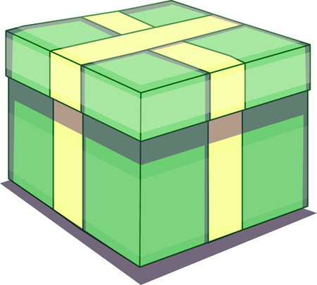 Vector illustration of a birthday or Christmas present. Gift wrapped in green paper with yellow ribbon.