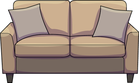 Vector illustration of a brown sofa / couch / chesterfield with gray cushions.