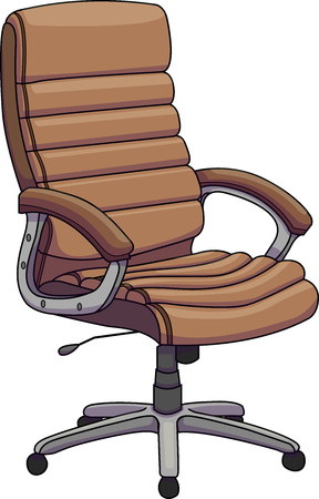 Vector illustration of a brown leather office chair, Swivel chair, revolving chair. Illustration