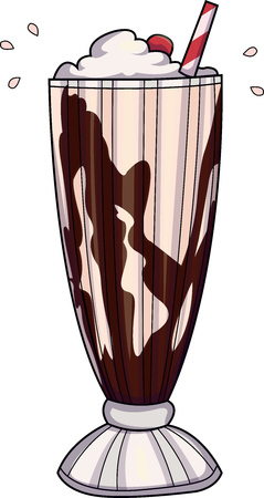 Vector illustration of a milkshake with strawberry and chocolate syrup
