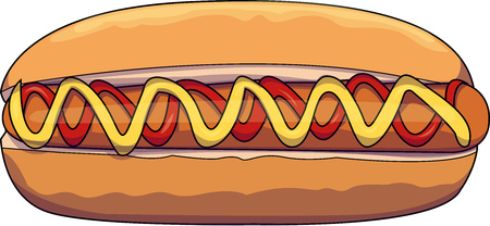 Vector illustration of a hot dog with mustard and ketchup sauce. Ilustração